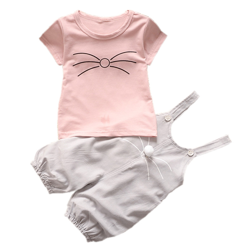 Baby Girl Clothing Set Summer 2018 New Cotton Baby Girls Clothes Cartoon Kitten Short Tops Tees+Overalls Outfits Kids Clothes cotton baby rompers set newborn clothes baby clothing boys girls cartoon jumpsuits long sleeve overalls coveralls autumn winter