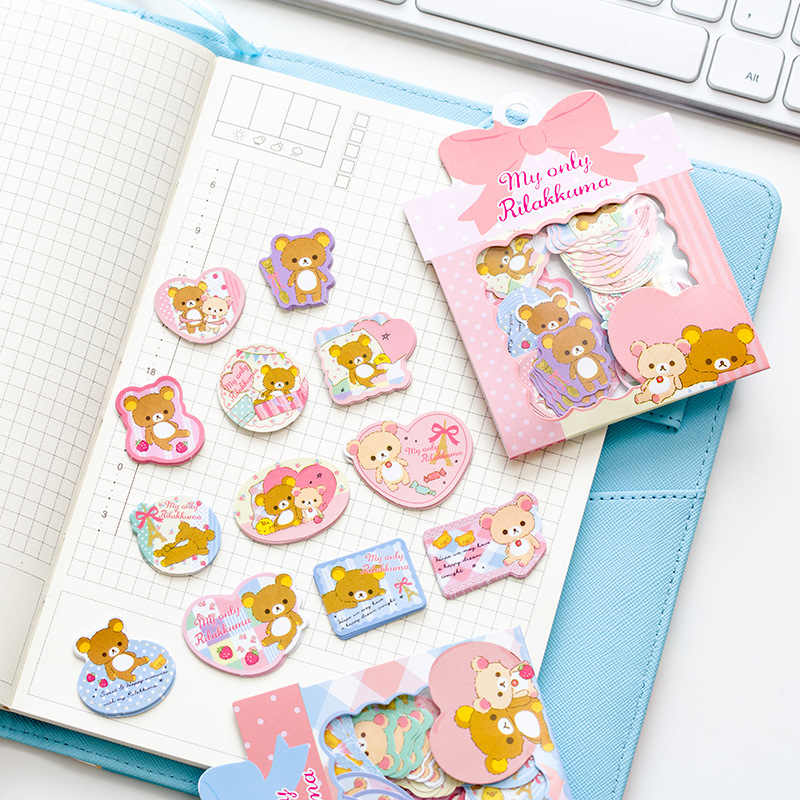 60 pcs/pack Kawaii Rilakkuma Stickers Mini Scrapbook Stickers Paper for Diary Album DIY Decoration Japanese Stationery 2019 New