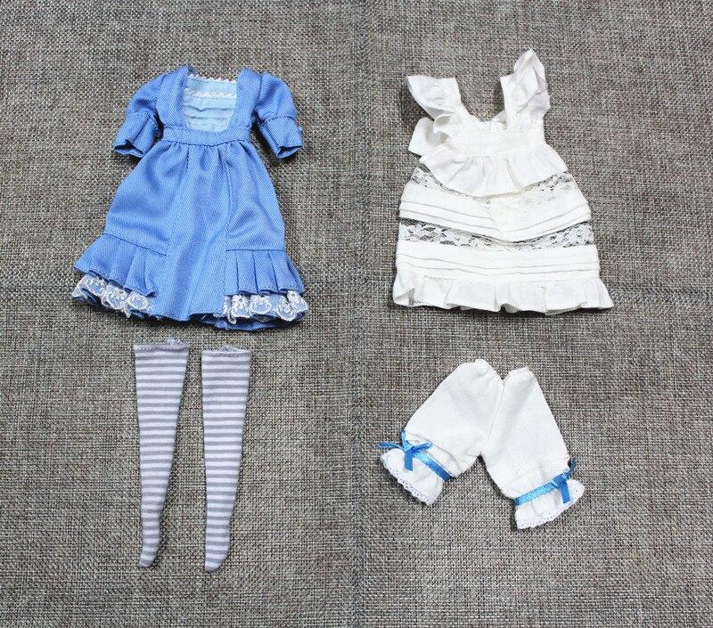 Блит куклы аксессуары, синий и белый наряд горничной, платья, фартуки, Шорты и чулки