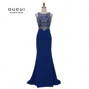 Image 1 - Robe sirène diamant De luxe, robe De soirée Vintage élégante, bleu Royal, Scoop, style sirène, collection 2019, OL103168