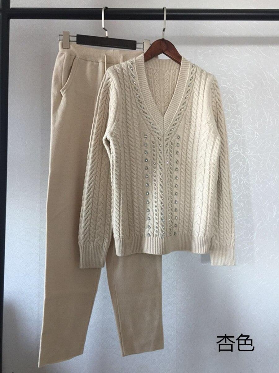 Deux Style Costume 2018 Ensembles Blanc beige Nouveau Mode Tricoté Chaud gris Cachemire Gamme De Survêtements Vente cou O Nouvelle Chaude Hiver Haut Femmes Ciel pu w6IxUq5