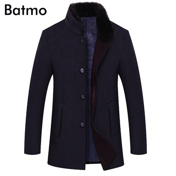 BATMO 2018 new arrival winter high quality wool trench coat men,men's gray wool jackets ,plus-size M-6XL,1658