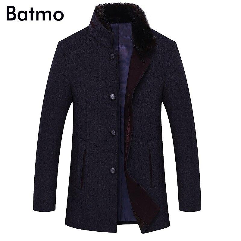 BATMO 2019 جديد وصول الشتاء جودة عالية الصوف خندق معطف الرجال ، الرجال رمادي الصوف جاكيتات ، زائد حجم M 6XL ، 1658-في صوف مختلط من ملابس الرجال على  مجموعة 1