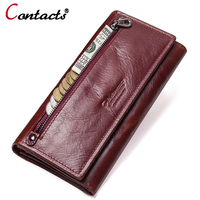Contact's Genuine Leather Women wallets coin Purse Female Clutches Money Wallets Design Cell Phone Card Holder Wallet Long walet