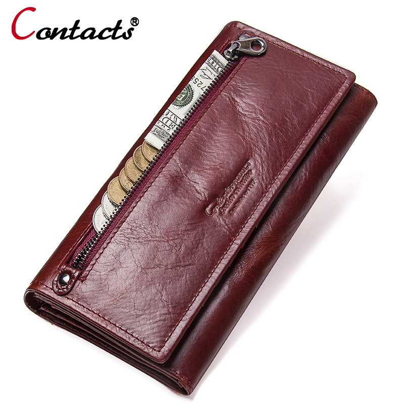 Contact's Genuine Leather Women wallets coin Purse Female Clutches Money Wallets Design Cell Phone Card Holder Wallet Long walet fashion women wallets genuine leather wallet female clutch long design wallets lady coin purse money bag card holder wws038