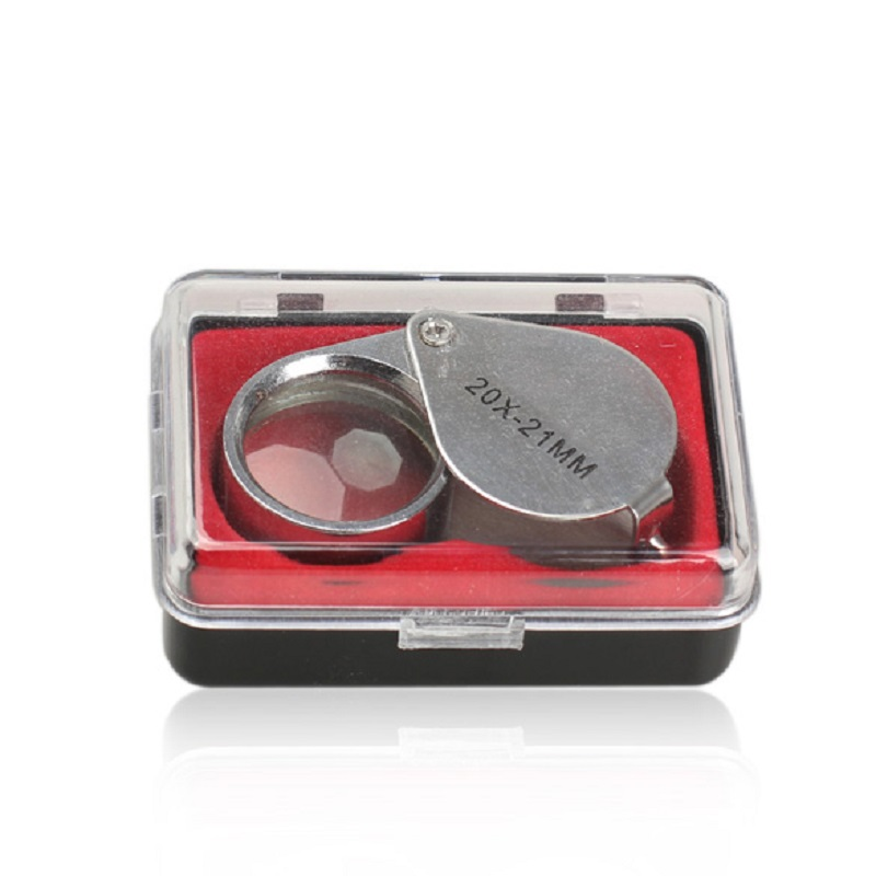 Portable Loupe Magnifier Mini Jewelry Loupes Glass 20X Folding Magnifier Loupe for Jewelry Coins Stamps Antiques High Quality jhopt 40 times with light microscope magnifier identification of chinese cigarettes coins print outlets antiques appraisal