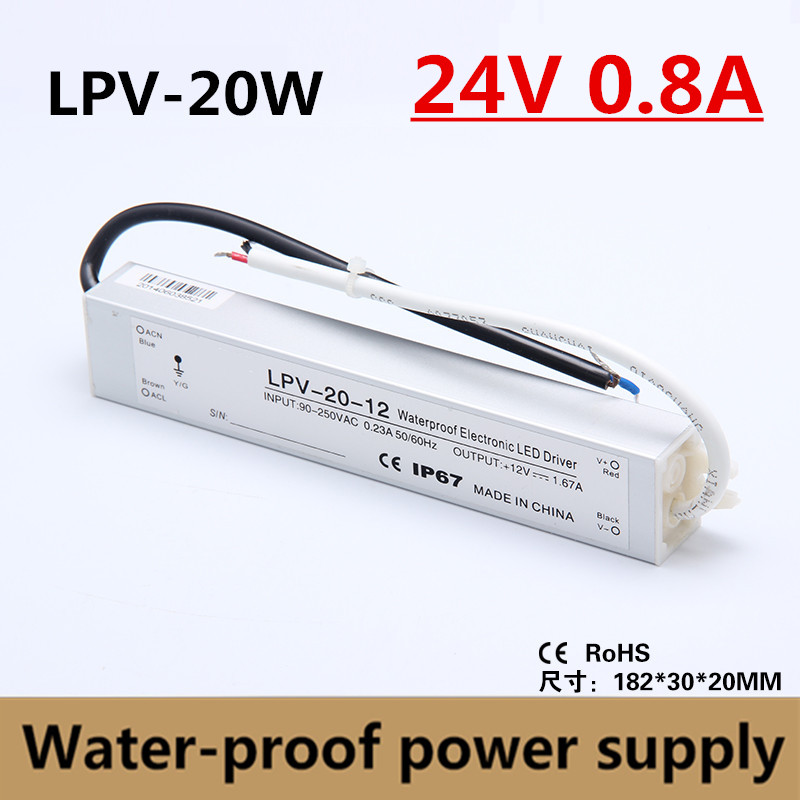 High Quality IP67 20W 24V 0.8A Water-proof Power Supply LED Driver <font><b>Adapter</b></font> Voltage Transformer 90-260vac input, <font><b>24VDC</b></font> output image