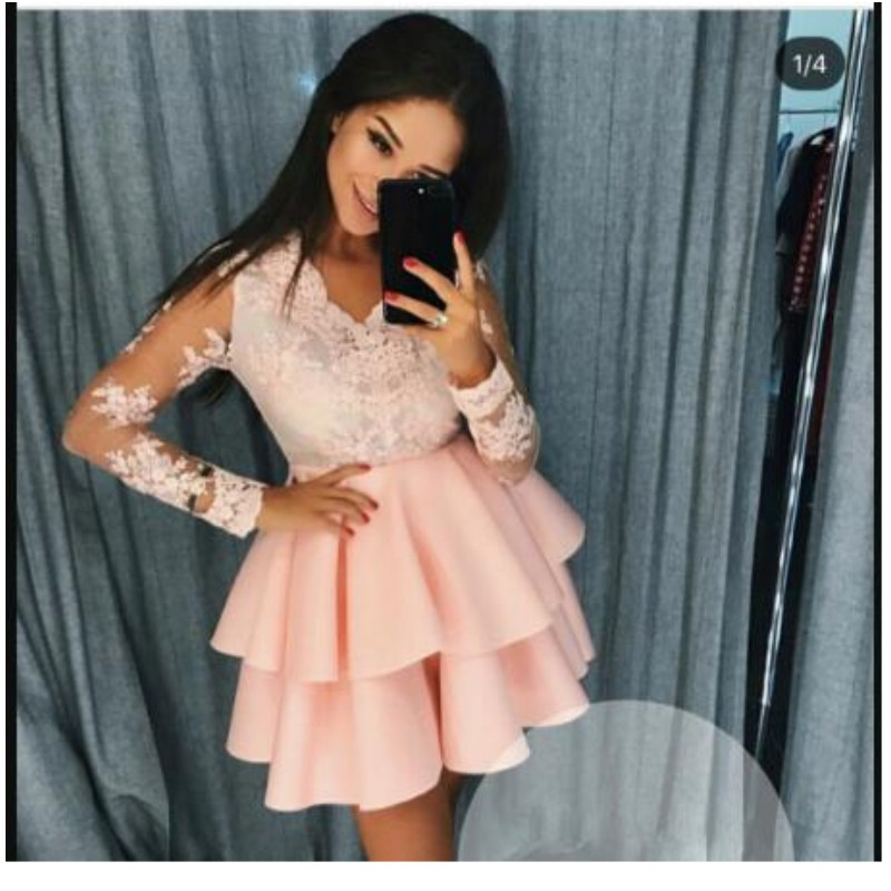 Elegant 2019 Cocktail Dresses A-line V-neck Long Sleeves Lace Tiered Short Mini Party Homecoming Dresses