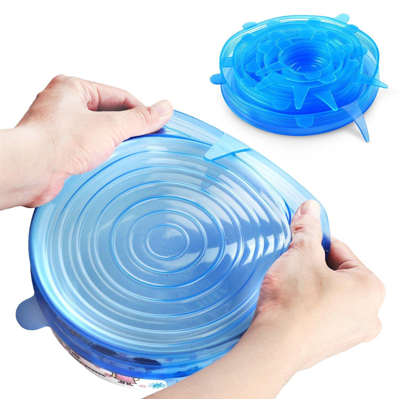 6pcs/set Universal Silicone Saran Food Wrap Lid-bowl Pot Lid-silicon Stretch Lids Silicone Cover Pan Kitchen Vacuum Lid Sealer