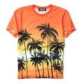 Kpop BigBang T shirt Homens 2017 Verão Impressão Ocasional Hawaii Coconut Tree Concerto de Casal de Manga Curta Streetwear Tshirt Das Mulheres Dos Homens