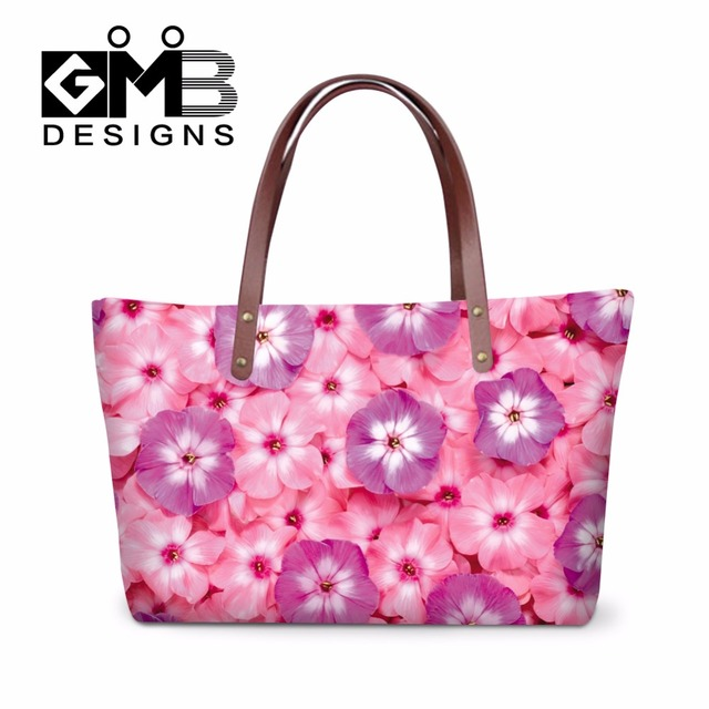 Beatiful Pink Flower Printed Handbags for Women fresh rose 3D shoulder tote  bag for girls