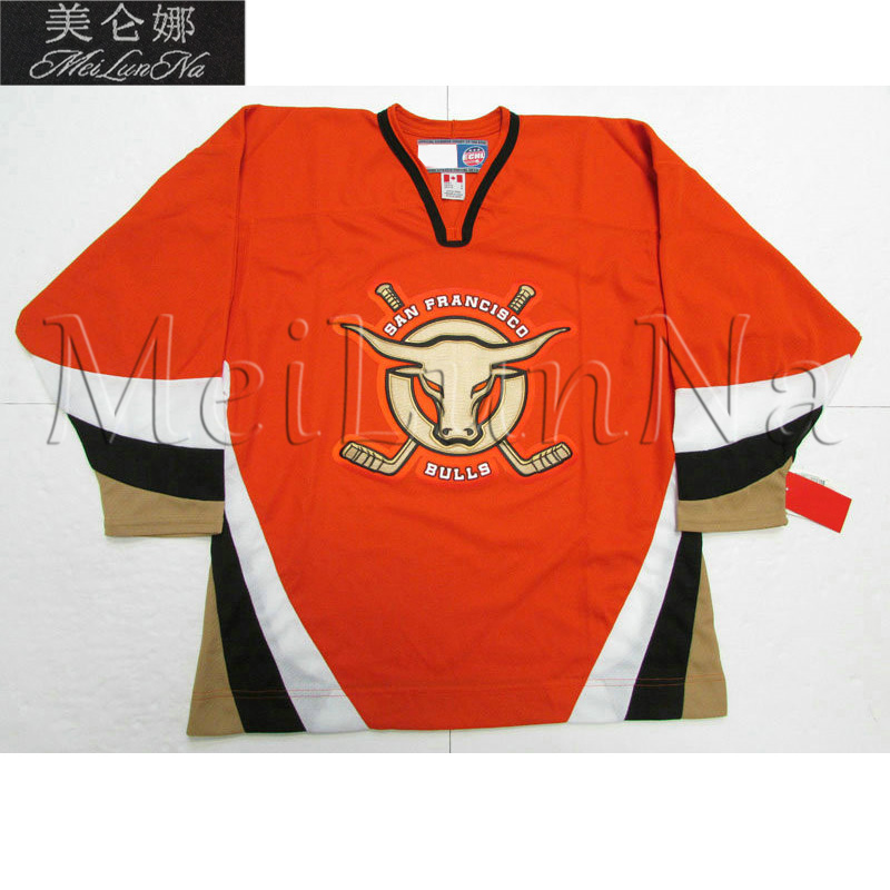 MeiLunNa Custom ECHL San Francisco Bulls Hockey Jerseys Torrey Mitchell Home Road THird White Black Sewn On Any Name NO. Size
