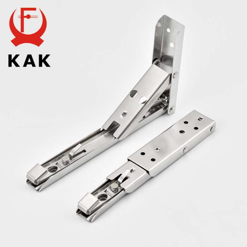 KAK 2 قطعة للطي مثلث قوس رف من الفولاذ المقاوم للصدأ دعم حامل رف قابل للتعديل الحائط مقعد الجدول الرف الأجهزة