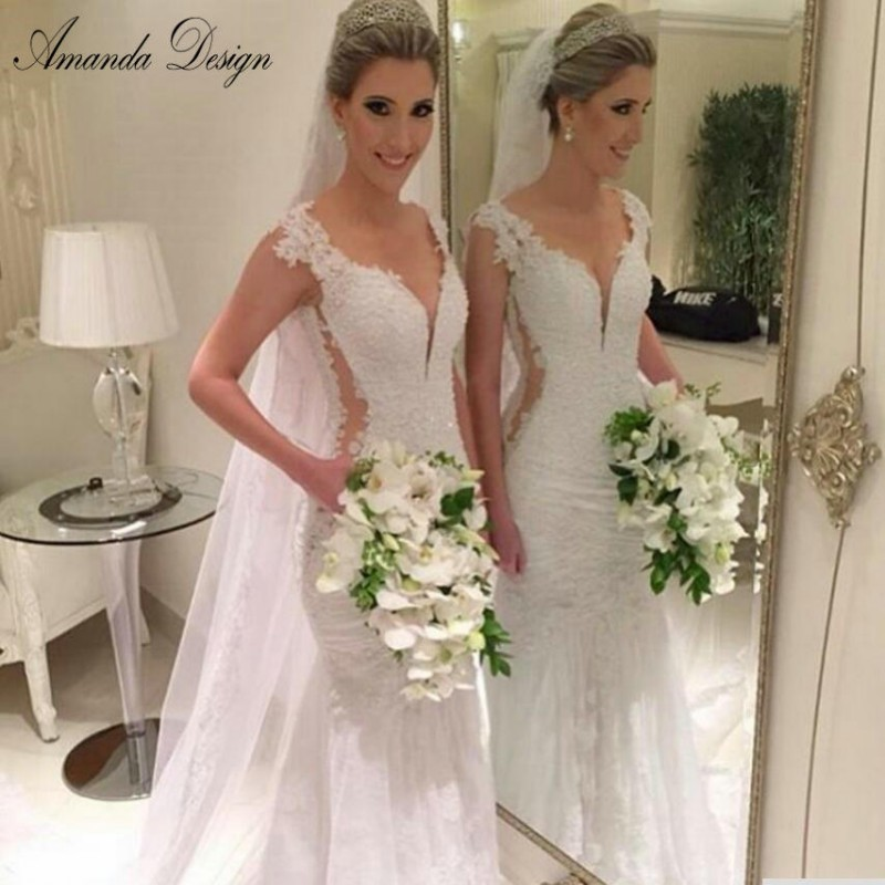 Robe De Mariee 2019 Newest V Neck Mermaid Wedding Dresses Cap Sleeve Bridal Gowns Lace Wedding Dress With Appliques-in Wedding Dresses from Weddings & Events    1
