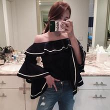 New Fashion Trumpet Sleeve word Collar Shirt Blusas Women Favor Hit Color Blouse Ladies tops T300