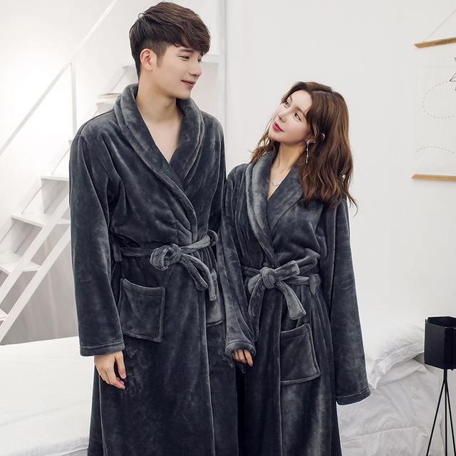 3cc912f270 Women and man Couples Robe Winter Long Bathrobe Male Excellent Polyester  Fiber Pajamas Nightgown Sleepwear Mens Soft Robe