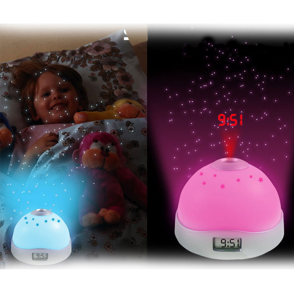 Starry Alarm Projection Clock Star Sky Calendar Night Light Projector Clock Color-Changed Night Light Lamp for Kids Gift