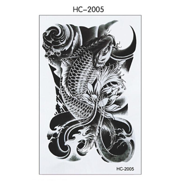 Bocetos Tatuajes Brazo 1 sábanas pescado negro hombres mujeres tatuaje temporal impermeable