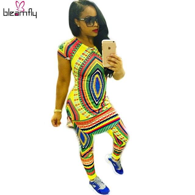 Оптовая Женщины Топ С Коротким рукавом Традиционной Африканской Моды Платья Леди Мода Леггинсы Лето индийский Dashiki 2 шт. Наборы