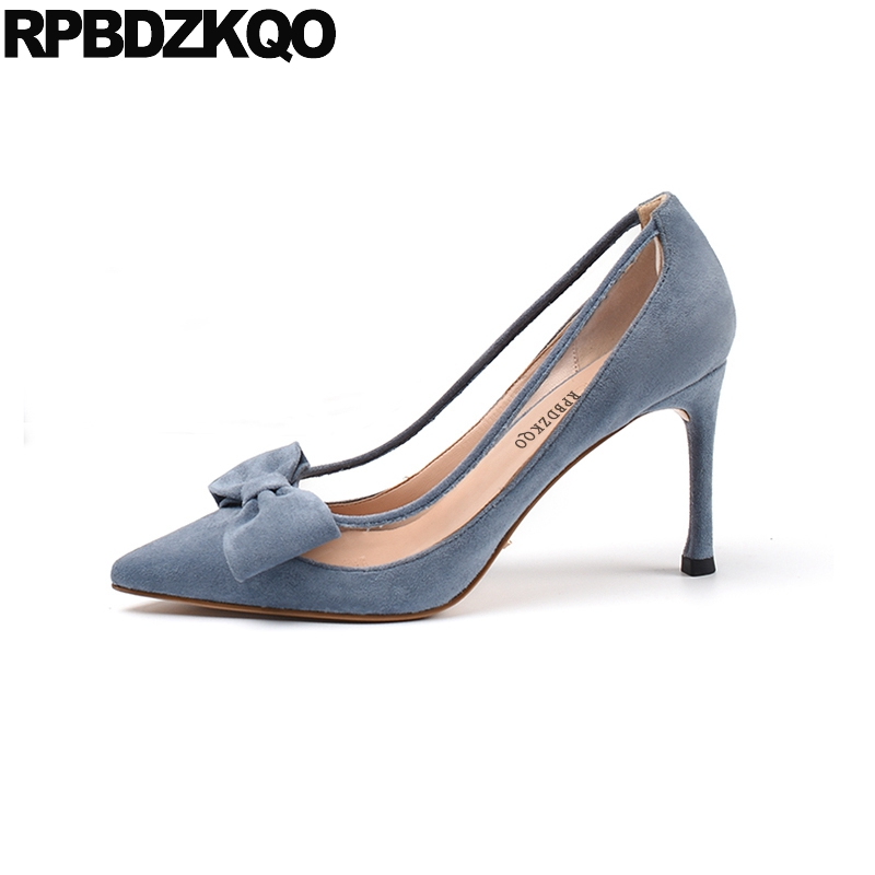 size 4 34 transparent clear shoes bow blue pvc pumps green suede thin high heels 2019 pointed toe ladies 8cm stiletto sweetsize 4 34 transparent clear shoes bow blue pvc pumps green suede thin high heels 2019 pointed toe ladies 8cm stiletto sweet