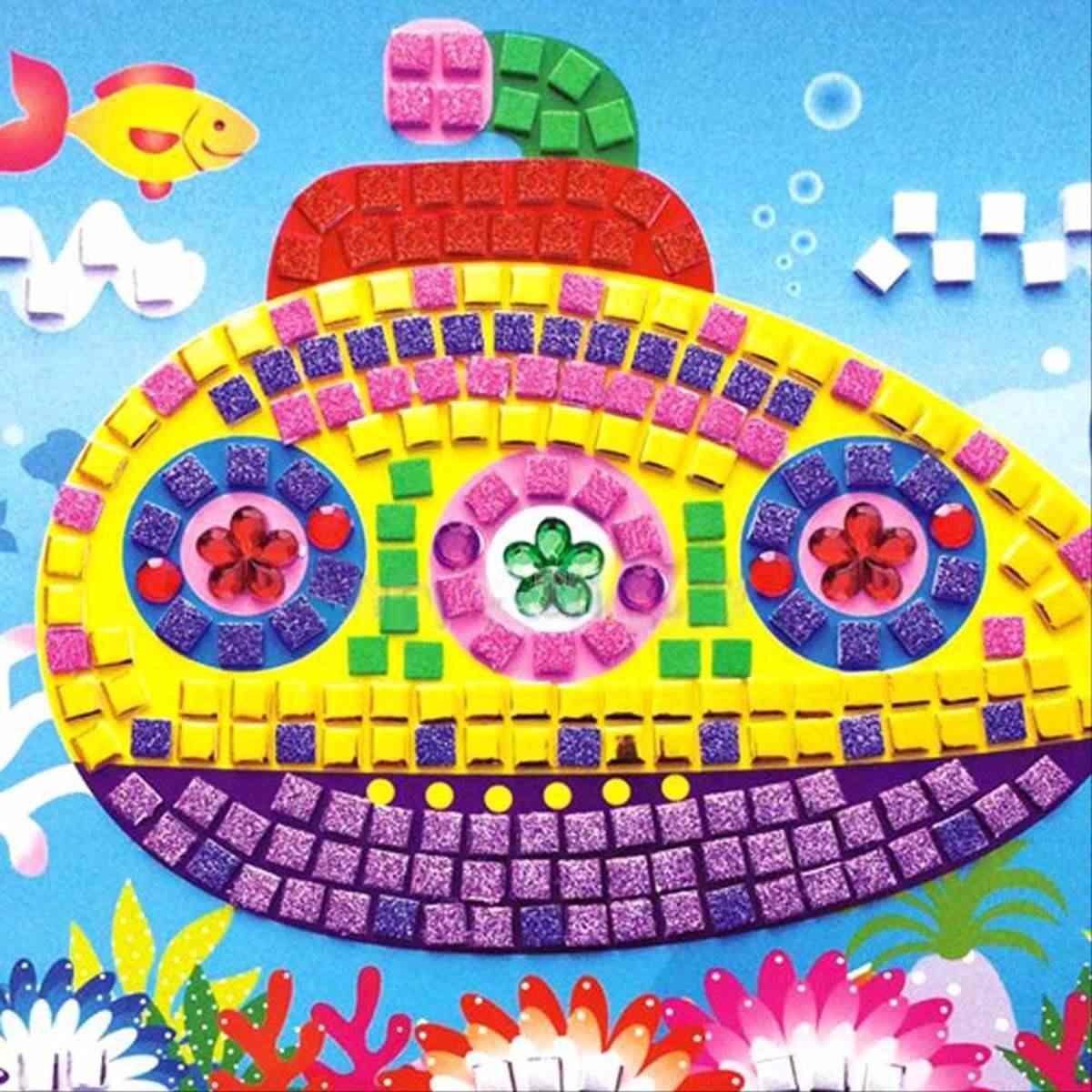 JIMITU EVA Cartoon 3D Foam Car Mosaics Art Stickers Painting Game  Multicolor Puzzle DIY Handmade Craft for Children Kids