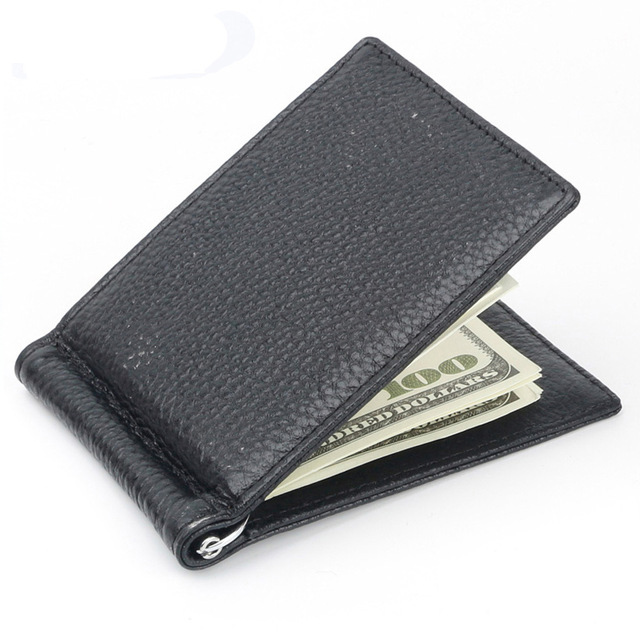 Fashion Leather RFID Money Clip Metal Wallet Men Women Genuine Thin Bifold Folded Male Purse Female Clamp Credit Card Case