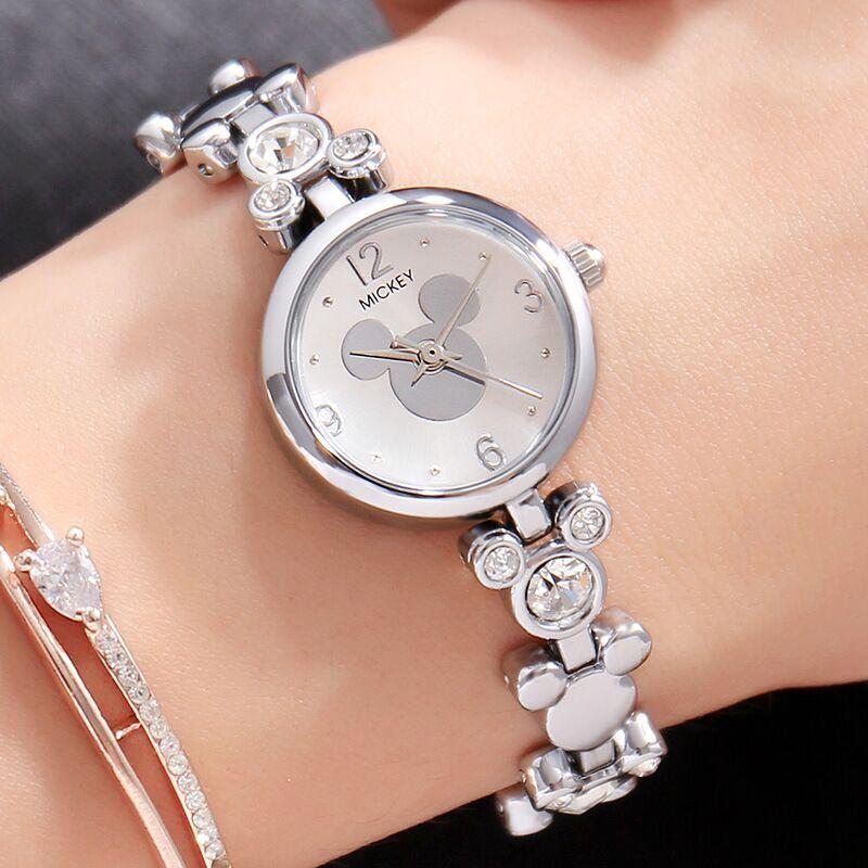 29e5b599688 Mulheres relógios Disney Mickey Mouse mulher Pulseira relógios rosa de ouro  de aço inoxidável marca de