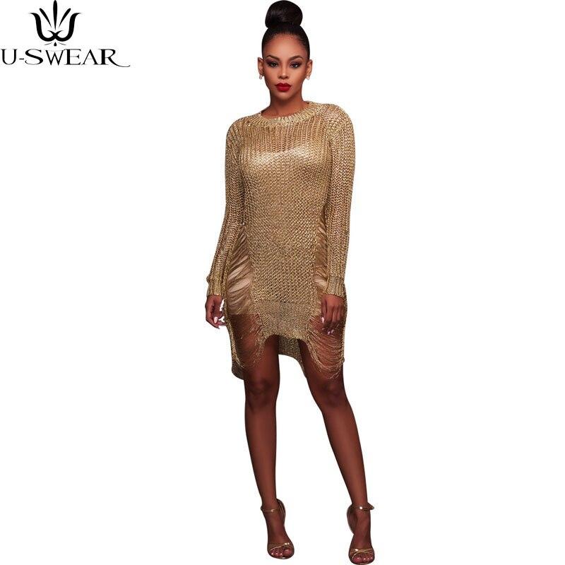 U-SWEAR Gold Metallic Knitted Shredded Sweater Dress Popular Stretch Sexy Ladder Cut-Out Metallic Sequins Dress Beach Wear