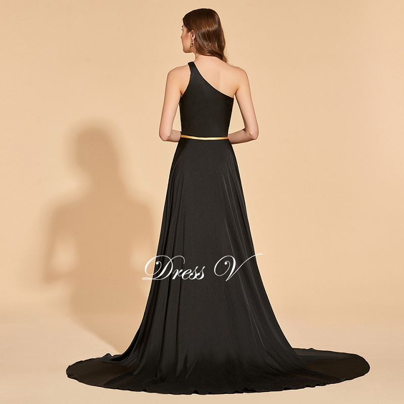 Tanpell one shoulder split front prom dresses black floor length a line dress women empire formal evening plus custom prom gown in Prom Dresses from Weddings Events