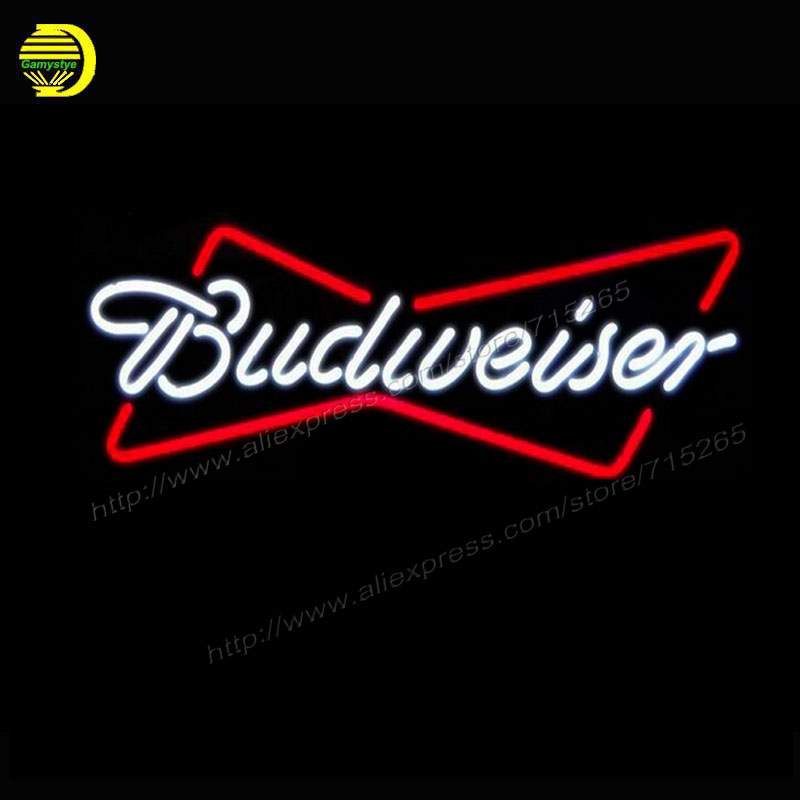 Neon Sign New Budweiser 17X12 Glass Neon Sign Beer Bar Pub Arts Crafts Gift Glass Tube Arcade Store Display neon Bulbs Lamp  vd ord american auto racing neon sign decorate glass tube car neon bulb recreation room indoor frame sign store wall displays 24x20