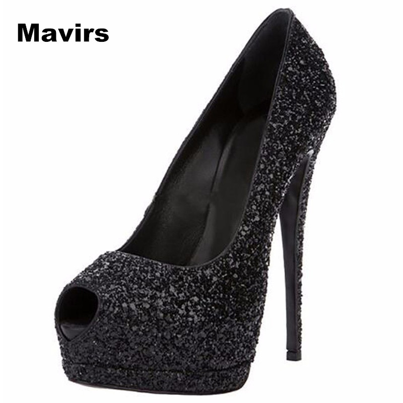 цена на Mavirs Fashion Peep Toe Platform Plus Size Women Pumps Ladies Shoes Patent Leather Sexy Extreme High Heels Shoes Wedding Party