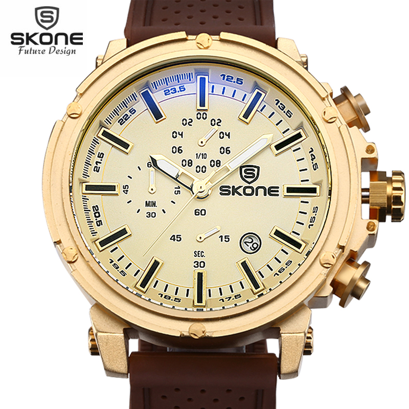 SKONE Top Brand Waterproof Chronograph Sport Watches Men Date Shock Resistant Quartz-watch Casual Silicone Watch relogios 2016 hubot elegant classic men s watch dates calendar classical art carved craft design chronograph men sport watches relogios