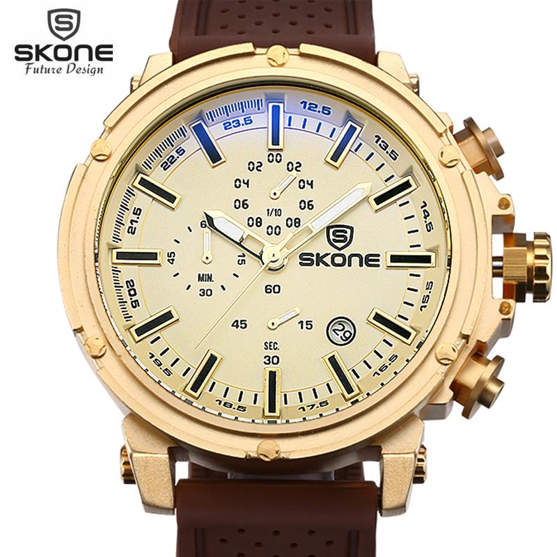 Prix pour SKONE Top Marque Étanche Chronographe Sport Montres Hommes Date Shock Resistant Quartz-montre Casual Silicone Montre relogios 2016