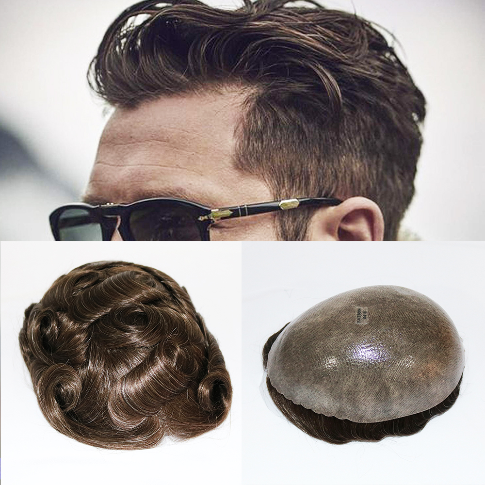 Eversilky Durable Skin Natural Hair Men Toupee Natural Looking Indian Remy Hair Clear Poly Base Human