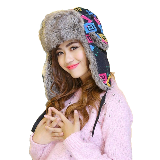 2016 Women Bomber Hats Winter Printed Thicken Hats Windproof with Earflaps Caps Russian Aviator Ear Flaps Outdoor Snow Ski Hats