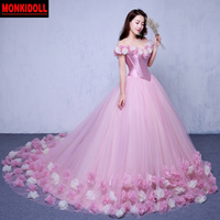 Sexy Off the Shoulder Beach Pink Quinceanera Dresses 2019 Princess Cinderella Ball Gown Sweet 16 Dress Prom Debutante Gowns