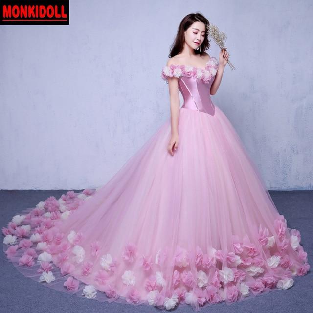 1beece59d Sexy hombro playa rosa vestidos de quinceañera 2019 princesa Cenicienta  vestido de baile dulce 16 vestido
