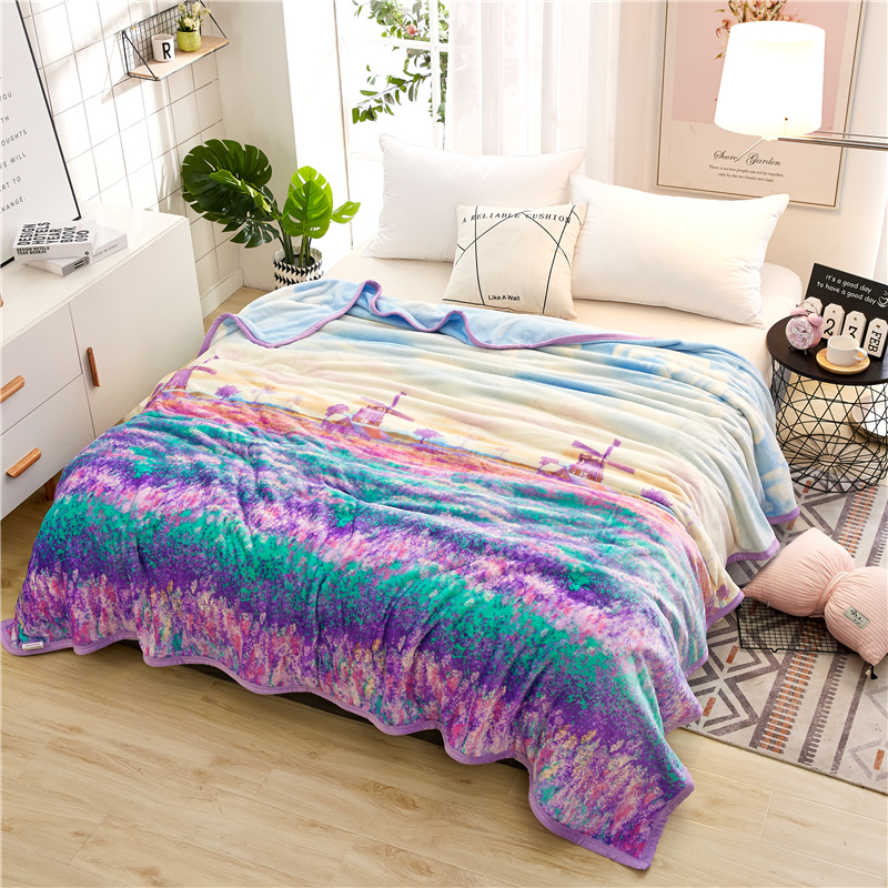 Provence Lavender European Style Flannel Blankets Good Quality Bed Sheet Sofa Bedroom Spring Autumn Keep Warm Thick Blanket
