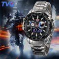 TVG Men Watch 2016 Quartz Wrist Watches Dress Male LED Clock  Stainless Steel quartz-watch Relogio Boys gift 2PCS/lot