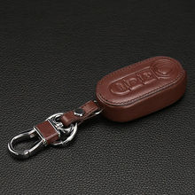 For Fiat 500 Panda Punto Bravo Leather Car Key Cover 3 Button Flip Folding Remote Key