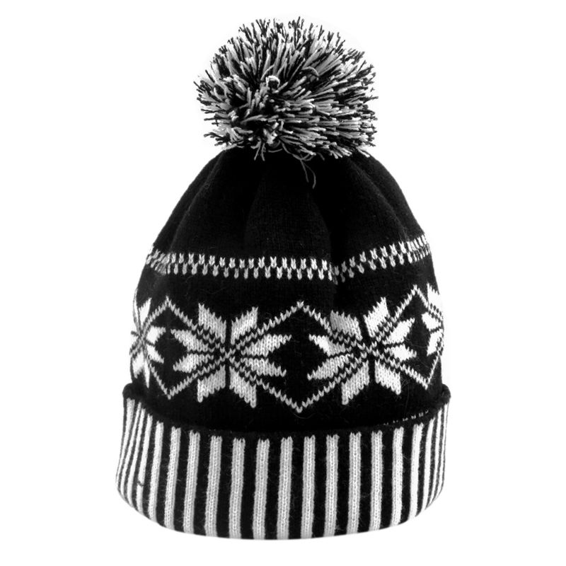 Women Men Winter Cuffed Knitted Hat Classic Black White Snowflake Striped Geometric Pattern   Beanie   Cap With Fluffy Pompom Ball