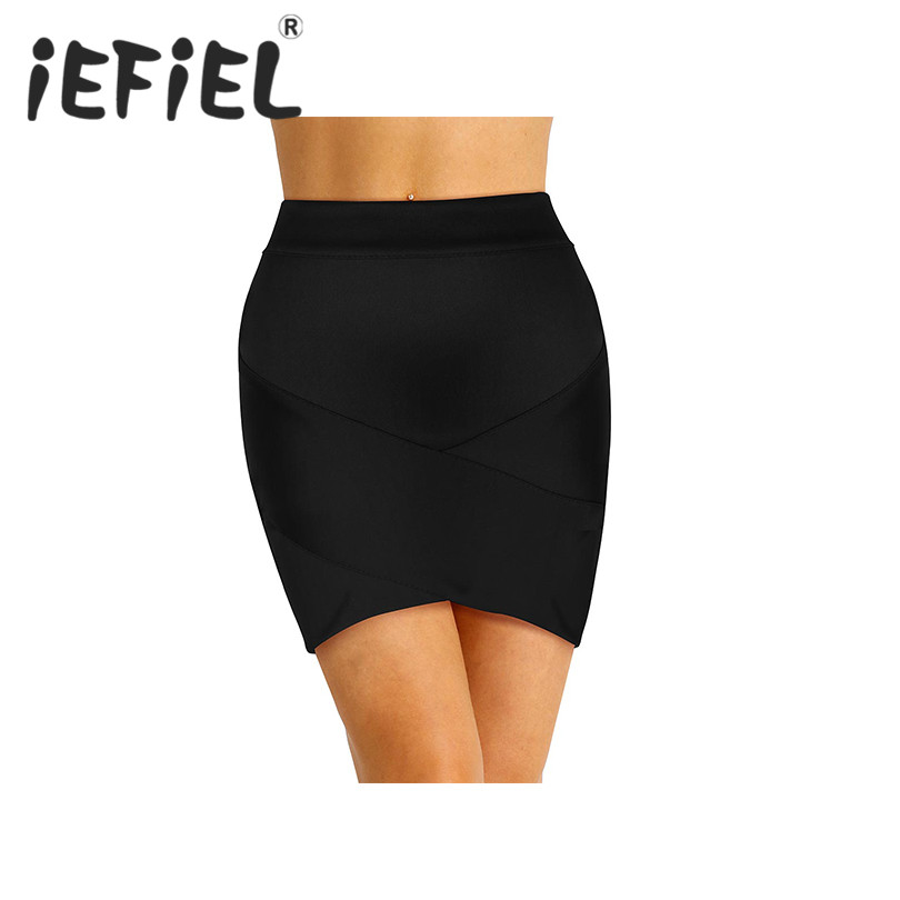 Womens Ladies Summer Skirt Fashion High Waist Front Criss Cross Asymmetric Hem Bodycon Party Tube Mini Skirt for Daily Wear