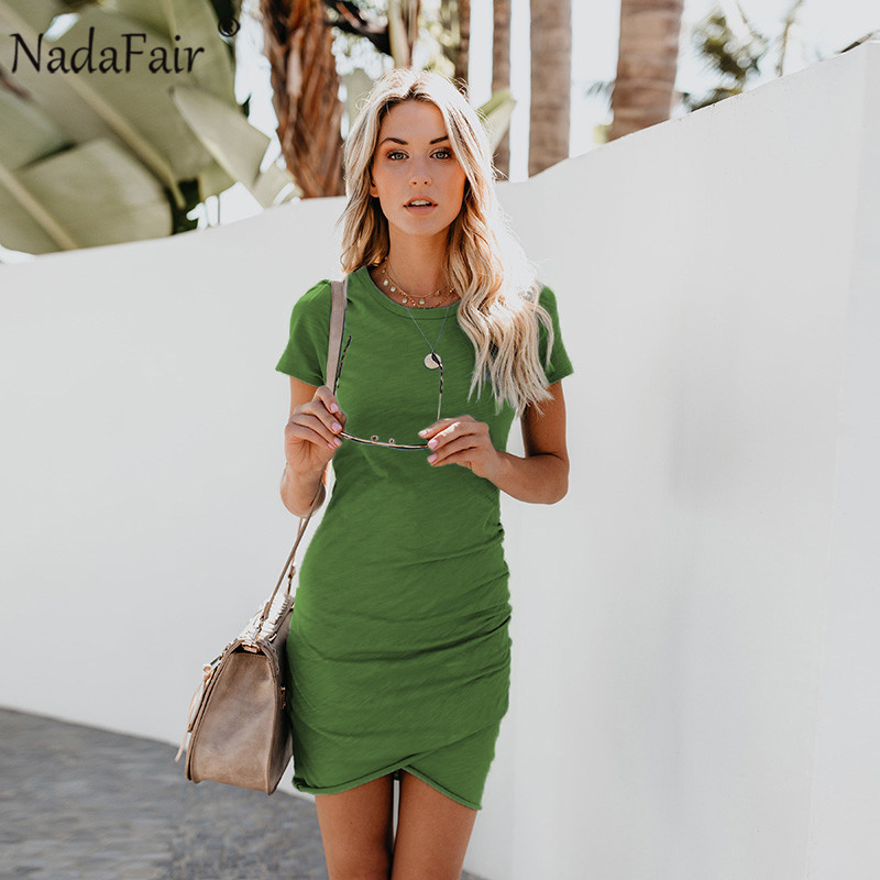 Nadafair o neck short sleeve ruffles sexy t-shirt dress women new fashion mini casual ruched elegant street wear summer dress ...