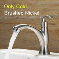 Brushed Nickel Single Handle Brass Bathroom Faucets Basin Fast On Only Cold Simple Faucet +1 pcs Hose