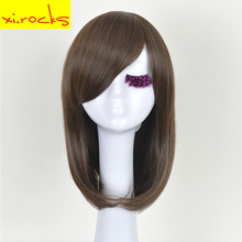 Xi.rocks Brown Medium Curly Naturly Bob Synthetic Hair Cosplay Wig For Women Heat Resistant Fiber Full Daily Hairpiece 3172
