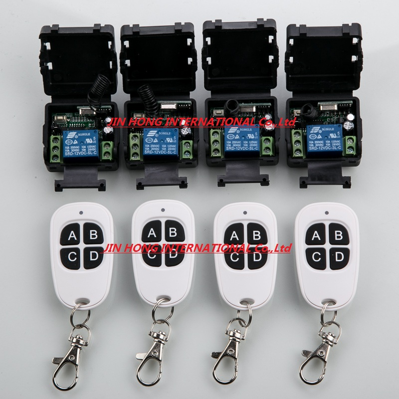 12V 1ch wireless remote control switch system 4 transmitter and 4 receiver 8pcs relay Simple and practical smart house simple and practical ac220v 1ch wireless remote control switch system1transmitter