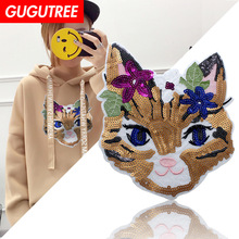 GUGUTREE embroidery Sequins big owl patches bird badges applique for clothing XC-332