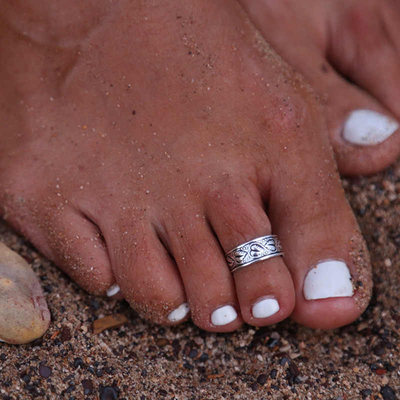 Boho Vintage Silver Colo Star/Flower Toe Ring Open Joint Foot Finger Rings Barefoot Snadal Beach Jewelry Slightly adjustable