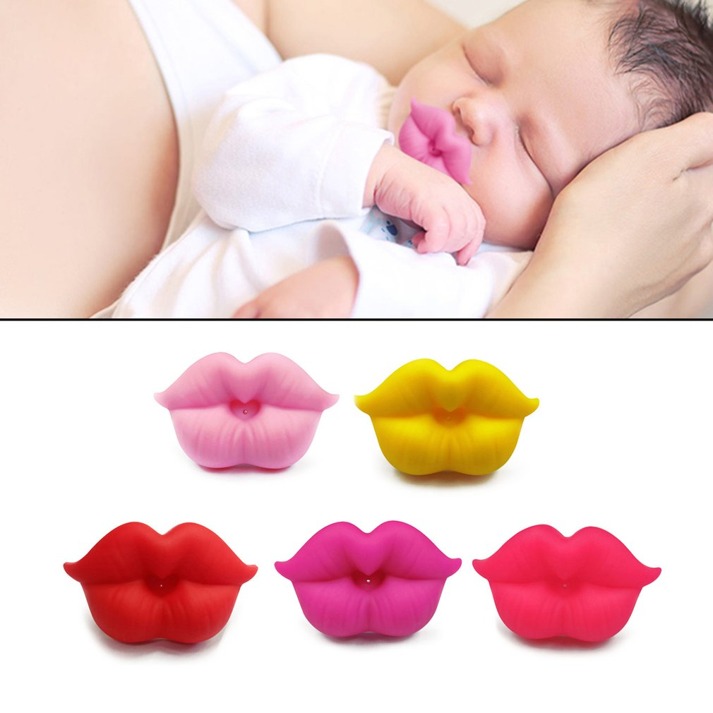 Food Grade Silicone Funny Baby Pacifiers Lip Mouth Shape Dummy Nipples Teether Toddler Pacy Orthodontic Soother Baby Pacifier