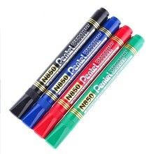 12 Pcs Pentel Pen permanent marker N50 N850 Bullet tip point Black 4.3mm line Black/Blue/Green/Red Color